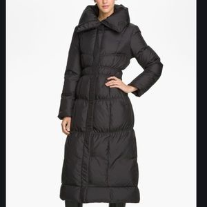 Cole Haan Black Quilted Long Coat Size S